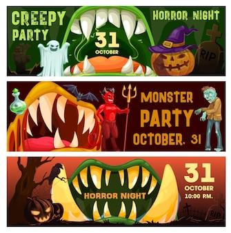 Banners de halloween de vector de noche de terror de fiesta espeluznante