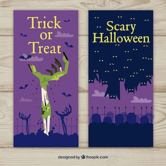 Banners de halloween con zombis y murciélagos
