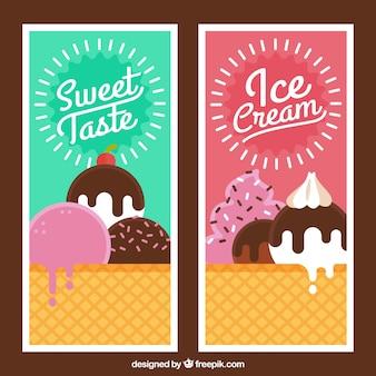 Banners de helados de sabores en estilo vintage