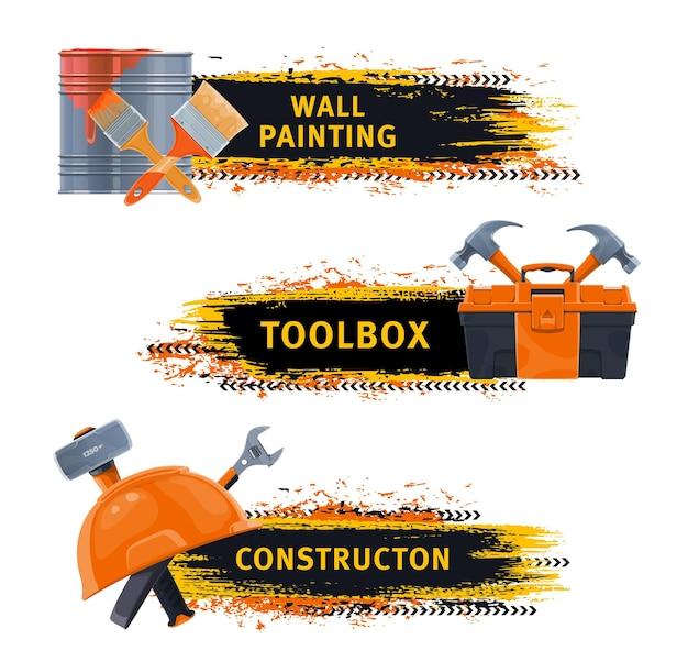 Banners de herramientas de construcción y pintura mural.