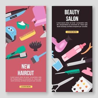 Banners de herramientas de salón de belleza