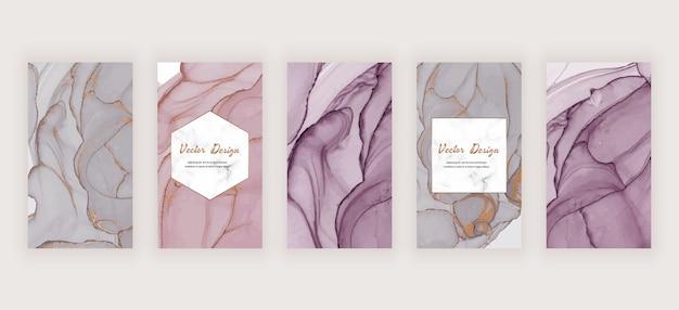 Banners de historias de redes sociales con textura de tinta de alcohol rosa, gris y nude y marco de mármol