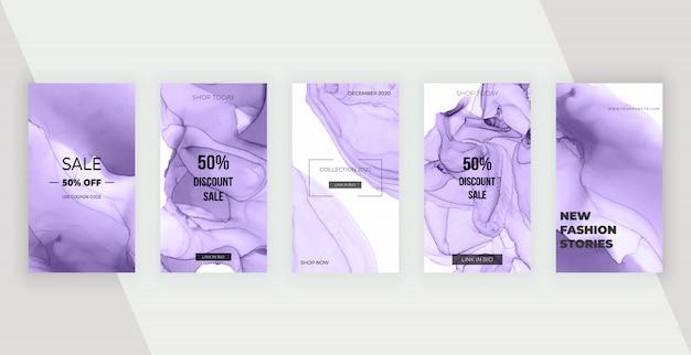 Banners de historias de redes sociales de tinta de alcohol púrpura. diseño moderno para flyer, cartel, tarjeta.
