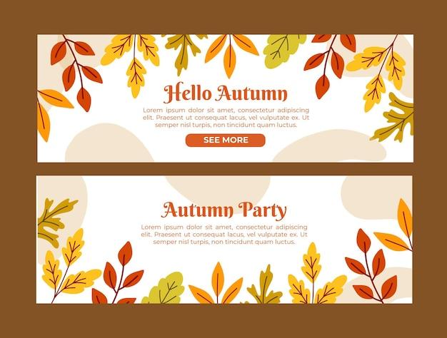 Banners de hola otoño dibujados a mano