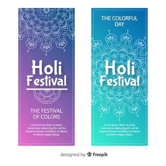 Banners de holi festival dibujado a mano