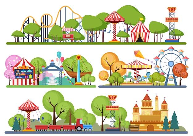 Banners horisontal del parque de atracciones. ilustración de color volumétrica