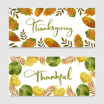 Banners horizontales de acción de gracias en acuarela
