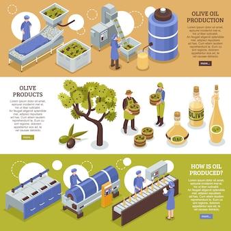Banners horizontales de aceite de oliva