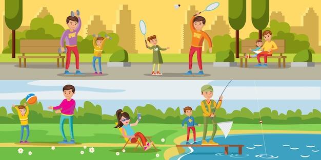 Banners horizontales de actividades de ocio de verano