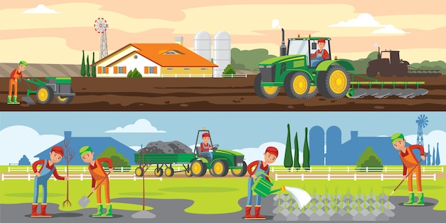 Banners horizontales de agricultura y agricultura