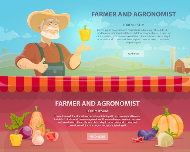 Banners horizontales de agricultura colorida