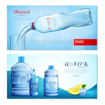 Banners horizontales de agua en botella de plástico