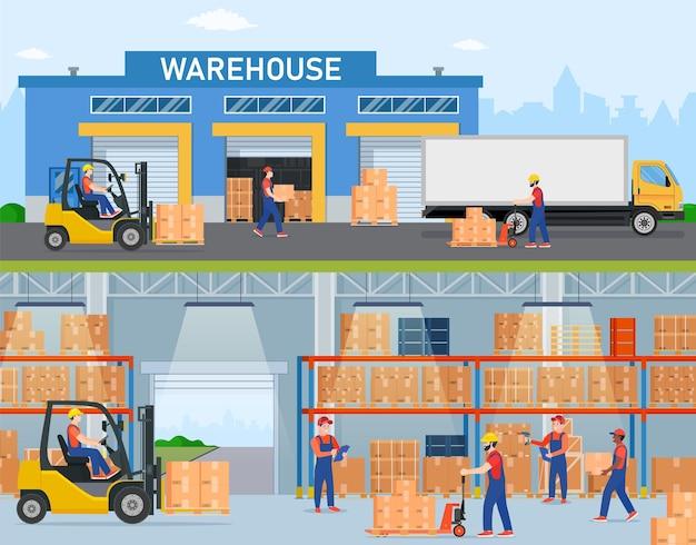 Banners horizontales de almacén con trabajadores de almacenamiento dedicados a la carga y descarga de mercancías.