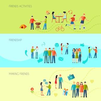 Banners horizontales de amistad con actividades de comunicación y tiempo libre.