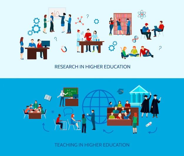 Banners horizontales de aprendizaje universitario con alumnos de estudio y búsqueda de información en piso plano.