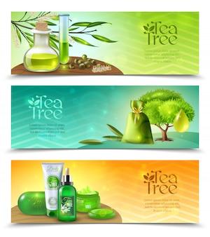 Banners horizontales de árbol de té