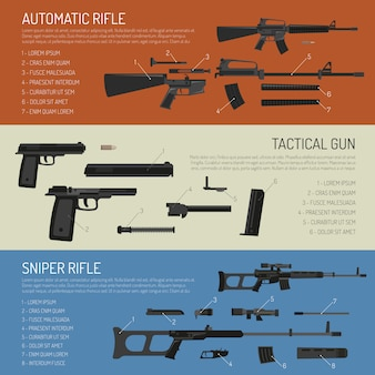 Banners horizontales de armas y pistolas