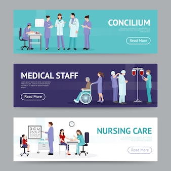 Banners horizontales de asistencia médica
