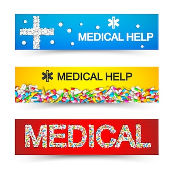 Banners horizontales de atención médica farmacéutica con inscripciones y cápsulas de colores, tabletas, tabletas, píldoras