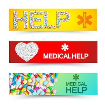 Banners horizontales de ayuda médica ligera con cápsulas de colores, medicamentos, píldoras y remedios ilustración