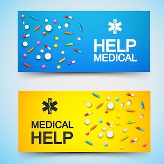 Banners horizontales de ayuda médica ligera con medicamentos, píldoras, remedios, tabletas en azul y naranjas ilustración