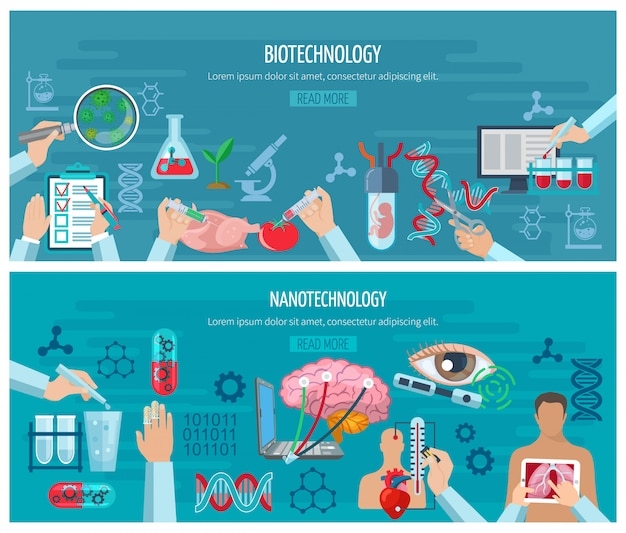 Banners horizontales de biotecnología y nanotecnología
