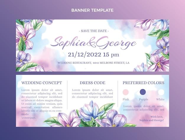 Banners horizontales de boda dibujados a mano en acuarela
