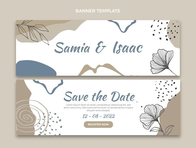 Banners horizontales de boda dibujados a mano