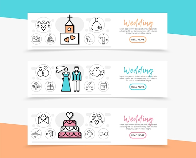 Banners horizontales de boda