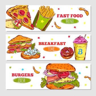 Banners horizontales de bosquejo de comida rápida
