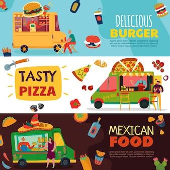 Banners horizontales de camiones de comida con símbolos de hamburguesas y pizzas ilustración aislada plana