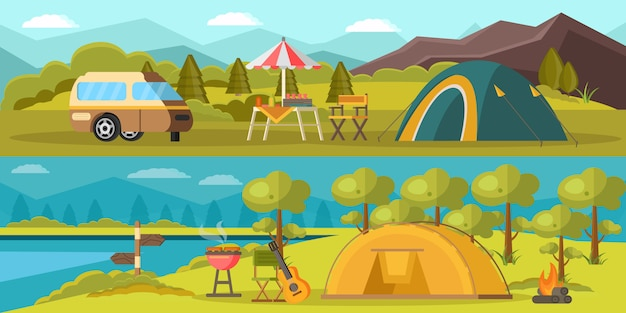 Banners horizontales de camping colorido
