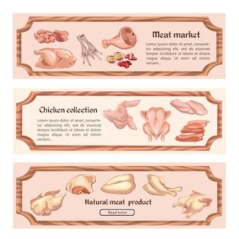 Banners horizontales de carne de pollo de colores
