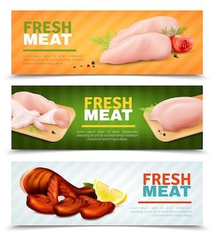 Banners horizontales de carne de pollo fresco