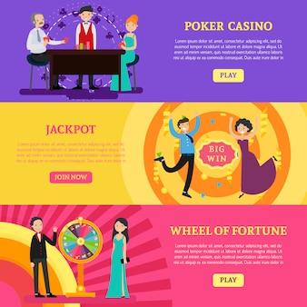 Banners horizontales de casino colorido
