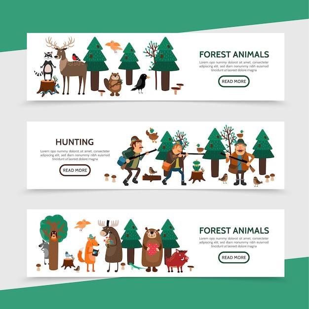Banners horizontales de caza plana con cazadores pájaros mapache ciervos alces castor rana serpiente zorro oso jabalí en bosque ilustración