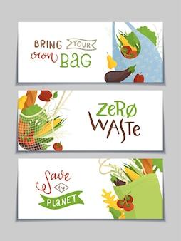 Banners horizontales de cero residuos. bolsa reutilizable con verduras y frutas.
