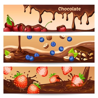 Banners horizontales de chocolate de dibujos animados