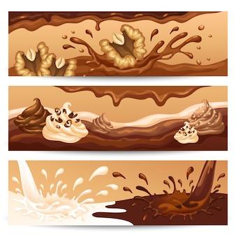 Banners horizontales de chocolate líquido de dibujos animados