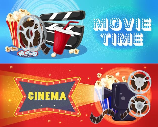 Banners horizontales de cine brillante