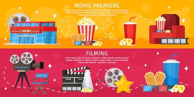 Banners horizontales de cine colorido
