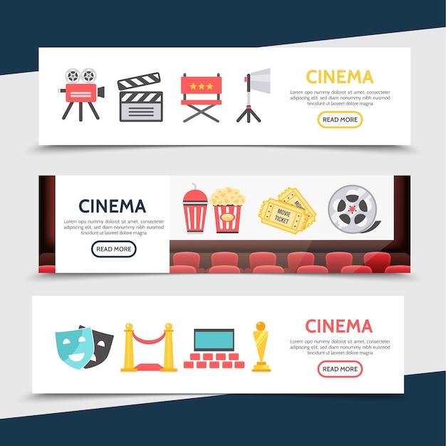 Banners horizontales de cine plano con cámara de cine, tablilla, director, silla, proyector, palomitas de maíz