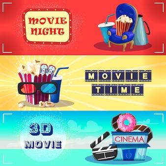 Banners horizontales de cinematografía colorida
