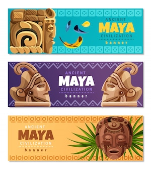 Banners horizontales de la civilización maya
