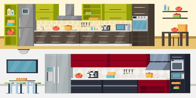 Banners horizontales de cocina moderna