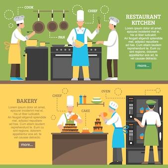 Banners horizontales de cocina profesional
