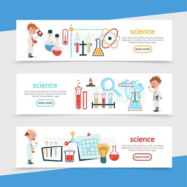 Banners horizontales coloridos de ciencia plana con matraces de tubos de científicos modelos de átomos y moléculas