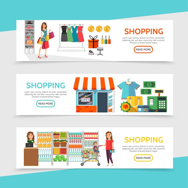 Banners horizontales de compras planas