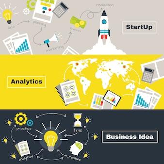 Banners horizontales de concepto de proyecto empresarial