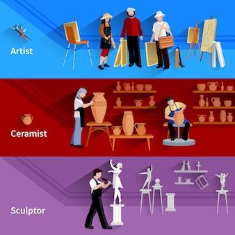 Banners horizontales conjunto de escenas con artista ceramista y escultor en el trabajo